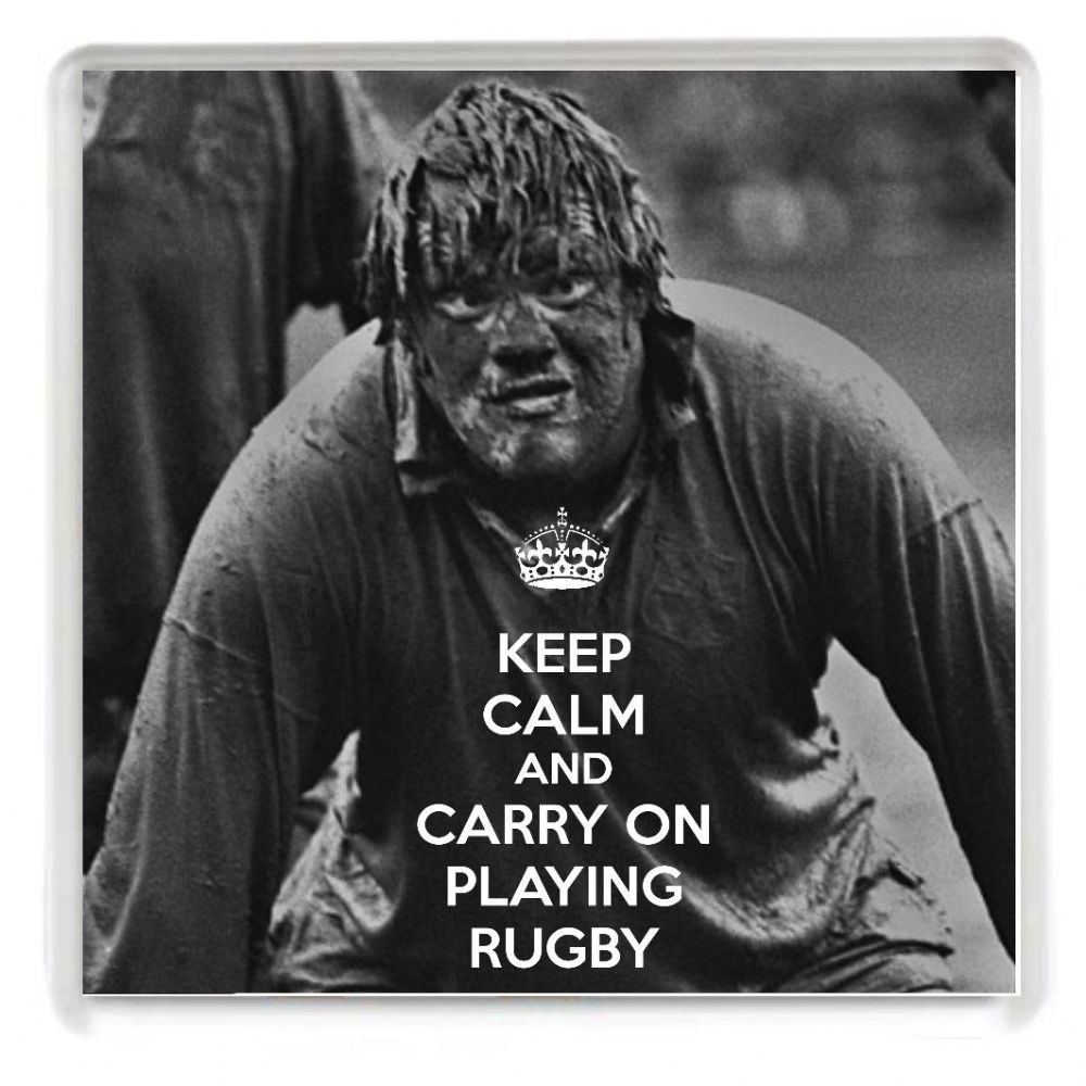 keep calm and carry on playing rugby drinks coaster with